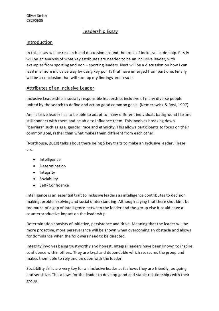 Example Of Leadership Essay Leadership Essay Examples Of Leadership