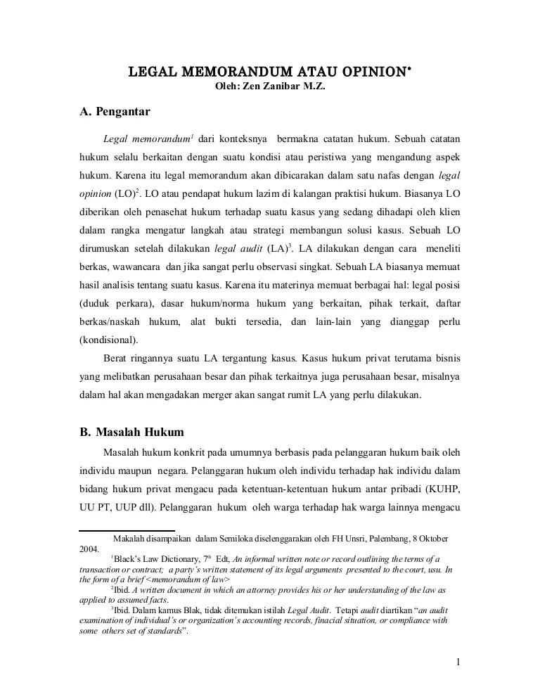 Contoh Legal Opinion Kasus Pidana : contoh, legal, opinion, kasus, pidana, PrivatLegal, Memorandum, Ataopinion(1)
