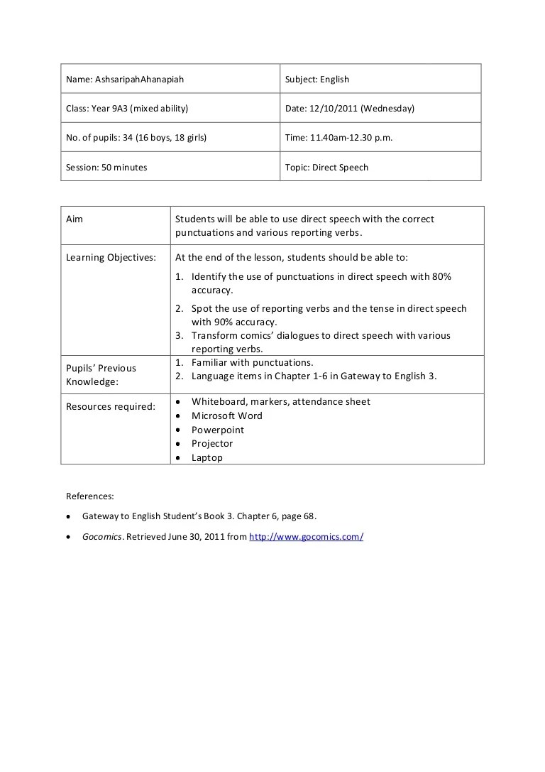 medium resolution of Lesson Plan 5- Direct Speech