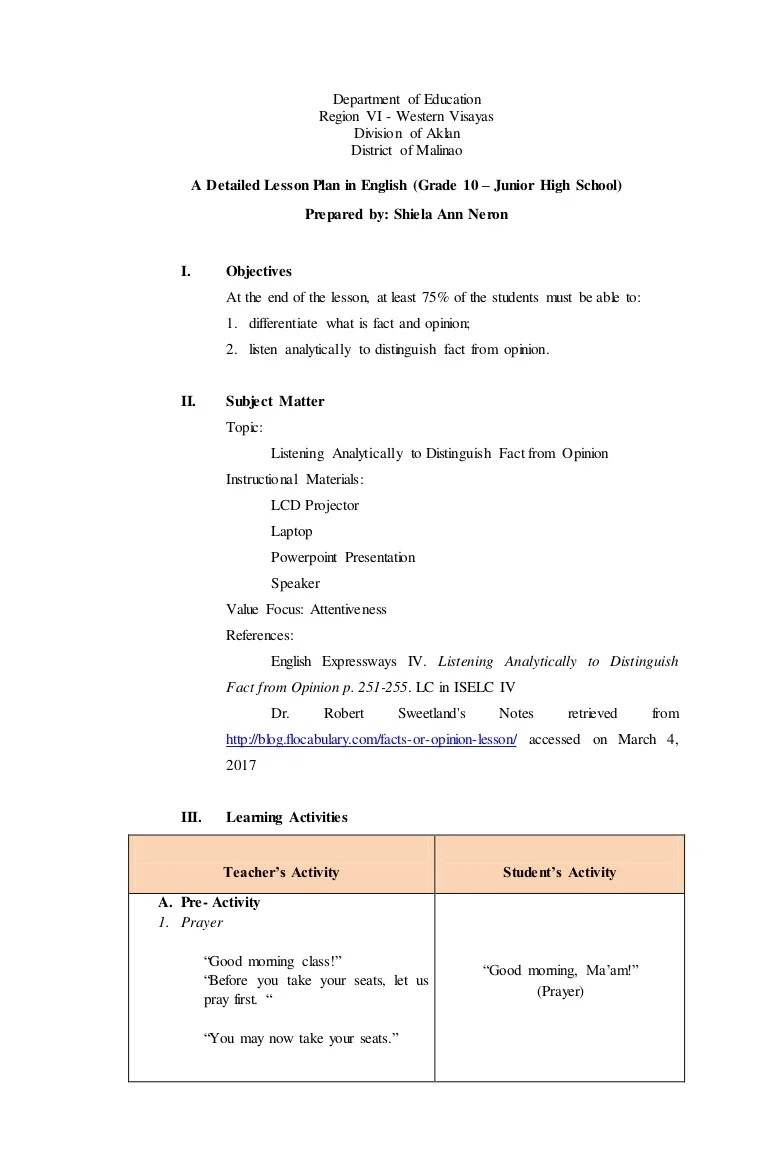 small resolution of Detailed Lesson Plan in Fact and Opinion