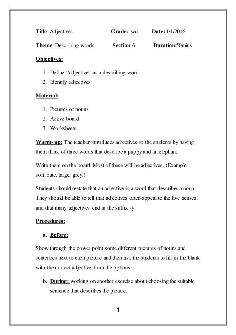 medium resolution of Lesson plan adjectives.
