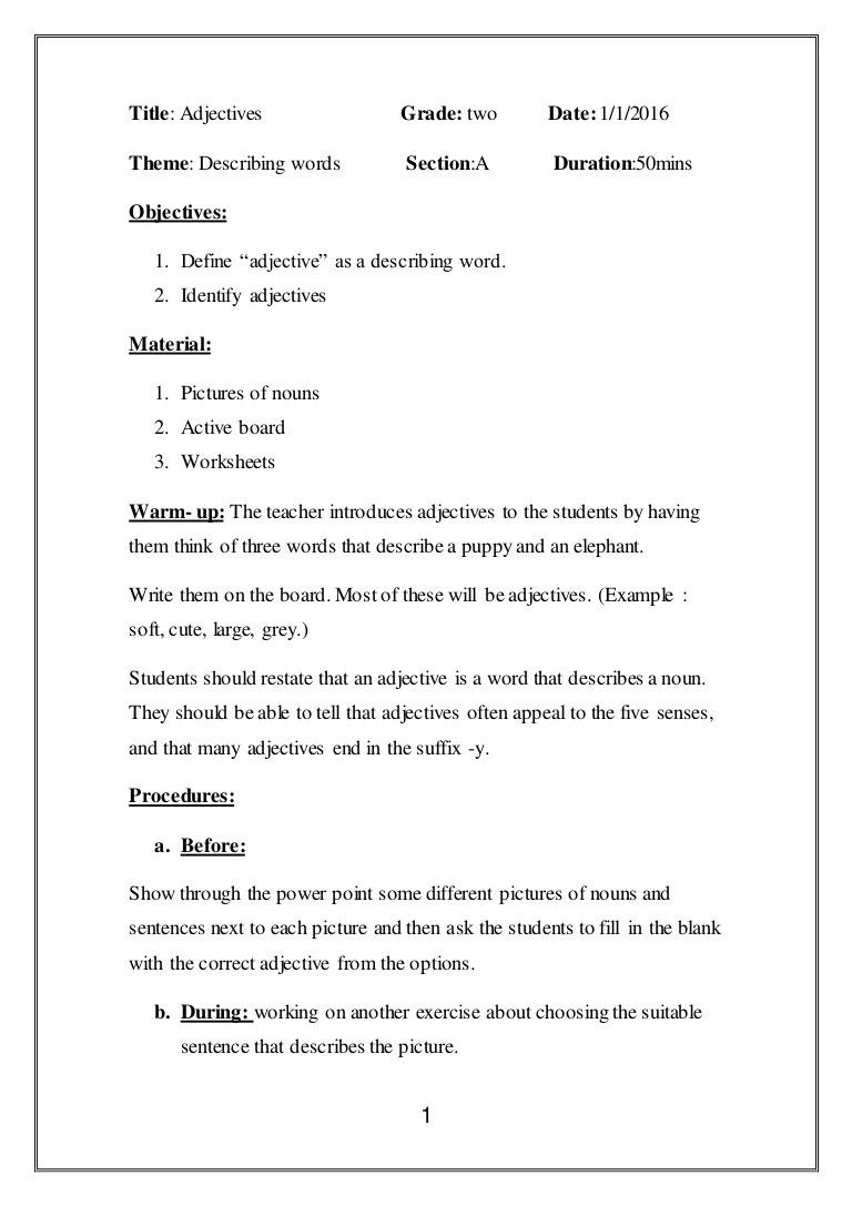small resolution of Lesson plan adjectives.