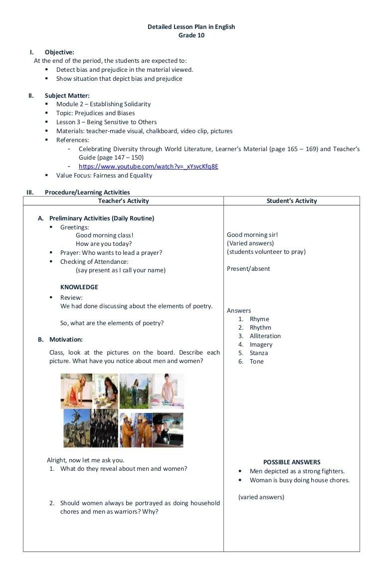 medium resolution of DETAILED LESSON PLAN IN ENGLISH GRADE 10
