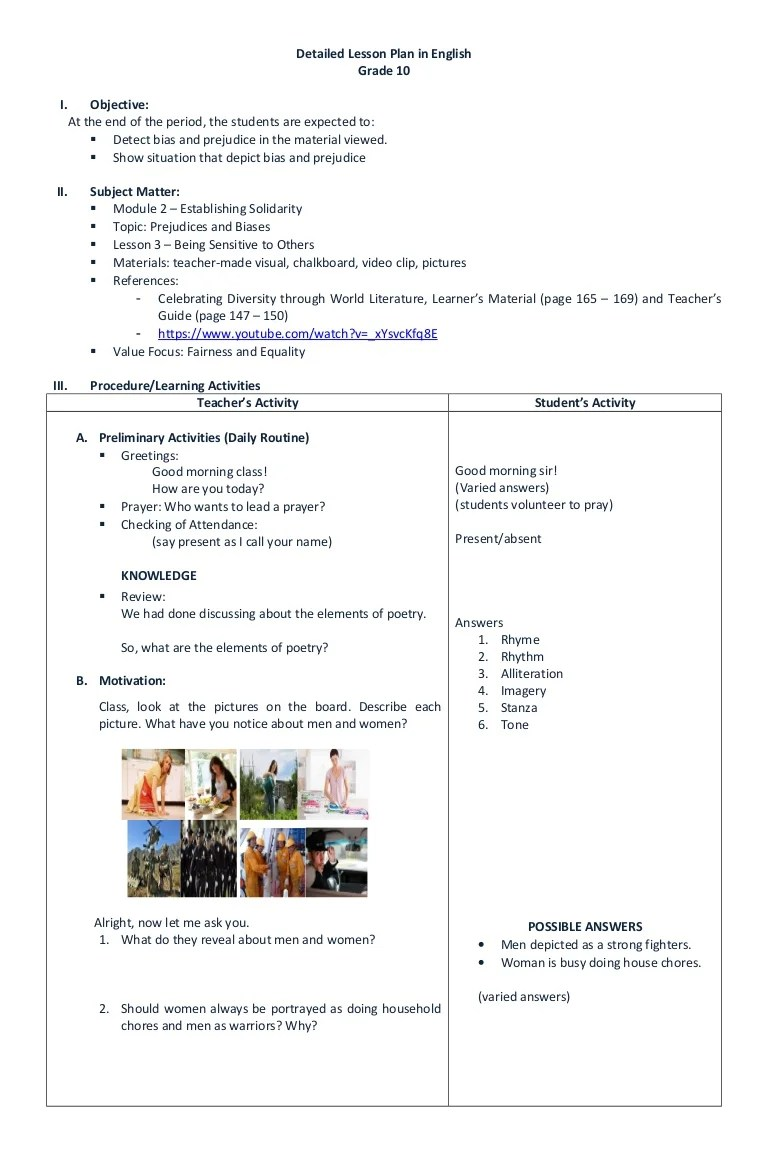 small resolution of DETAILED LESSON PLAN IN ENGLISH GRADE 10