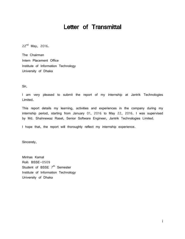 what is a letter of transmittal