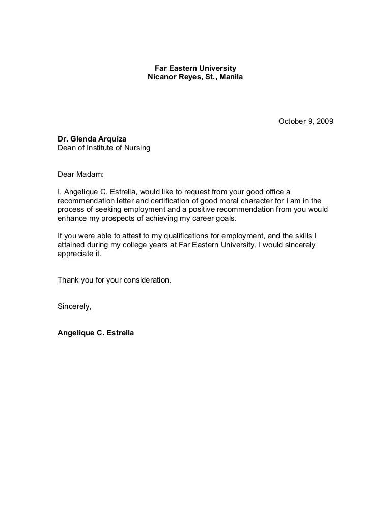Good Moral Character Sample Certificate