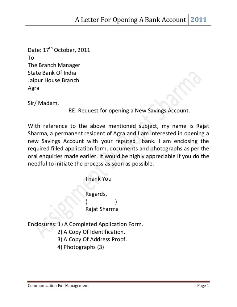 Reference Letter Bank Account Opening