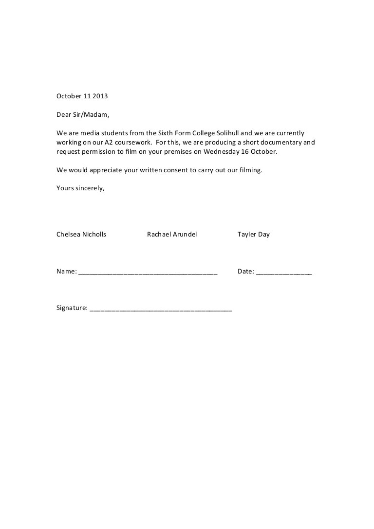 Parents Permit Letter