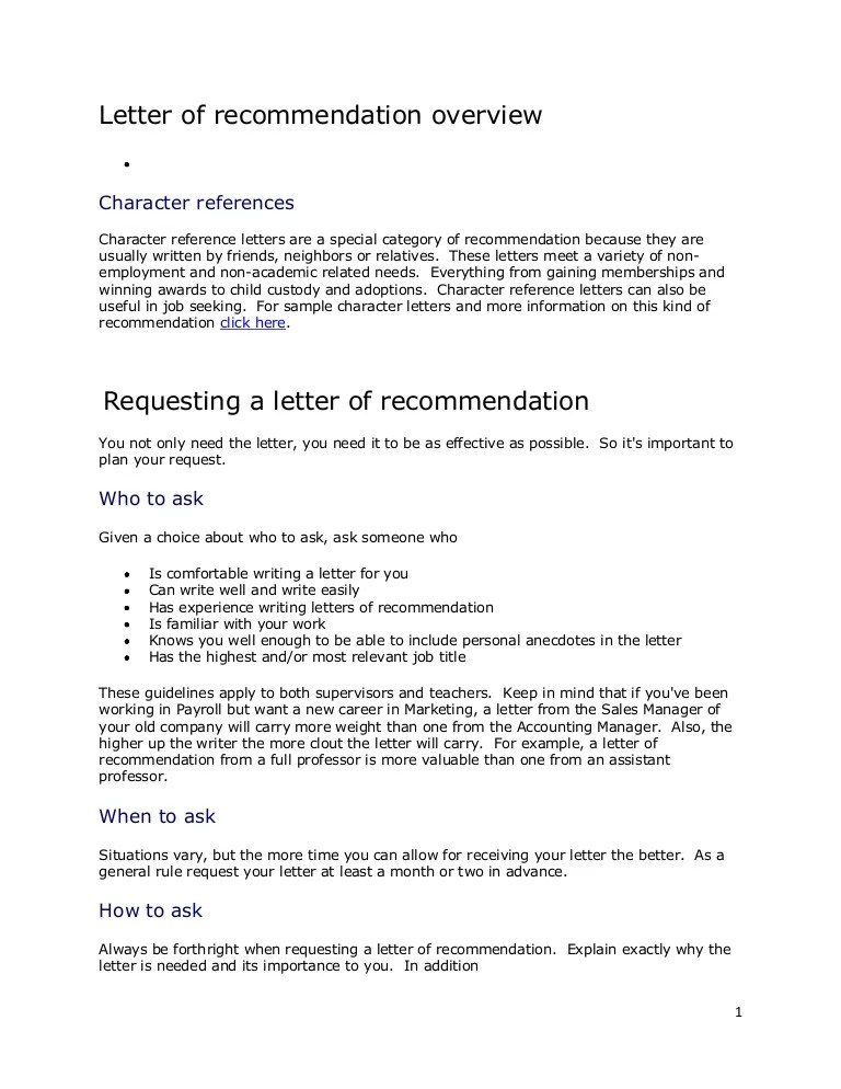 Letter Of Recommendation Overview