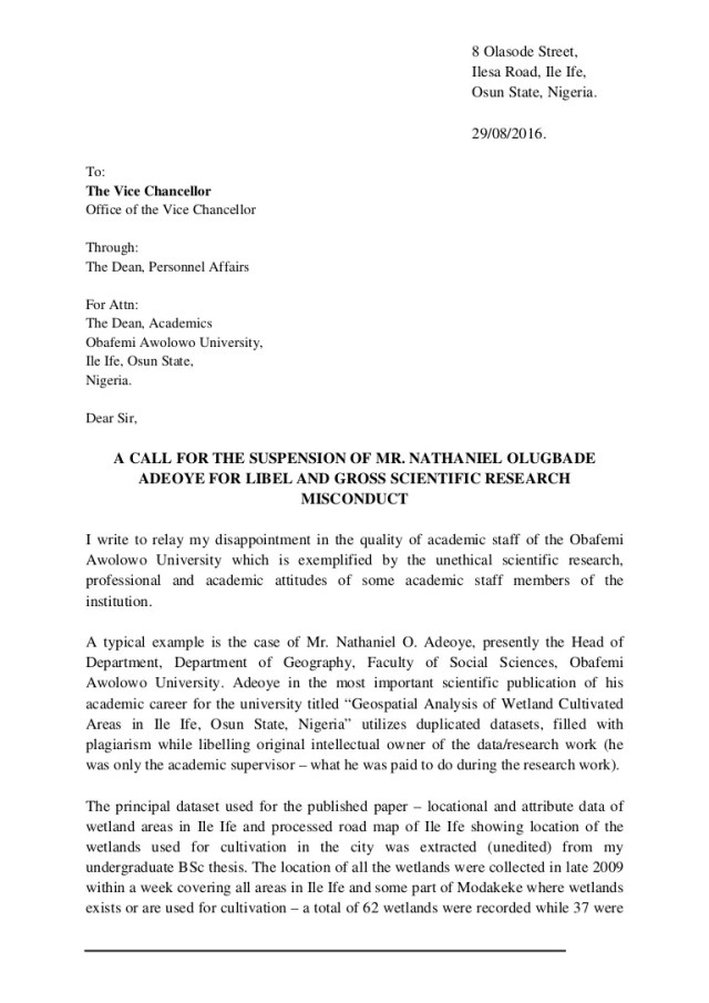 Letter to the Vice Chancellor, Obafemi Awolowo University, Ile Ife, N