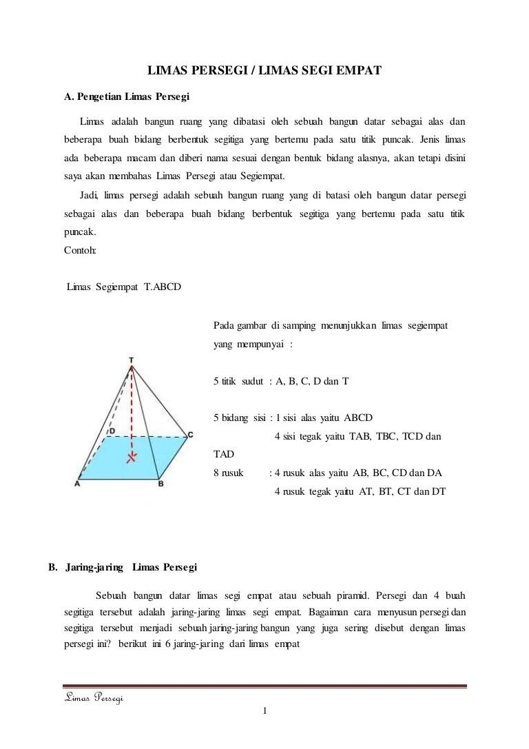 Contoh Soal Luas Permukaan Limas : contoh, permukaan, limas, Limas, Persegi