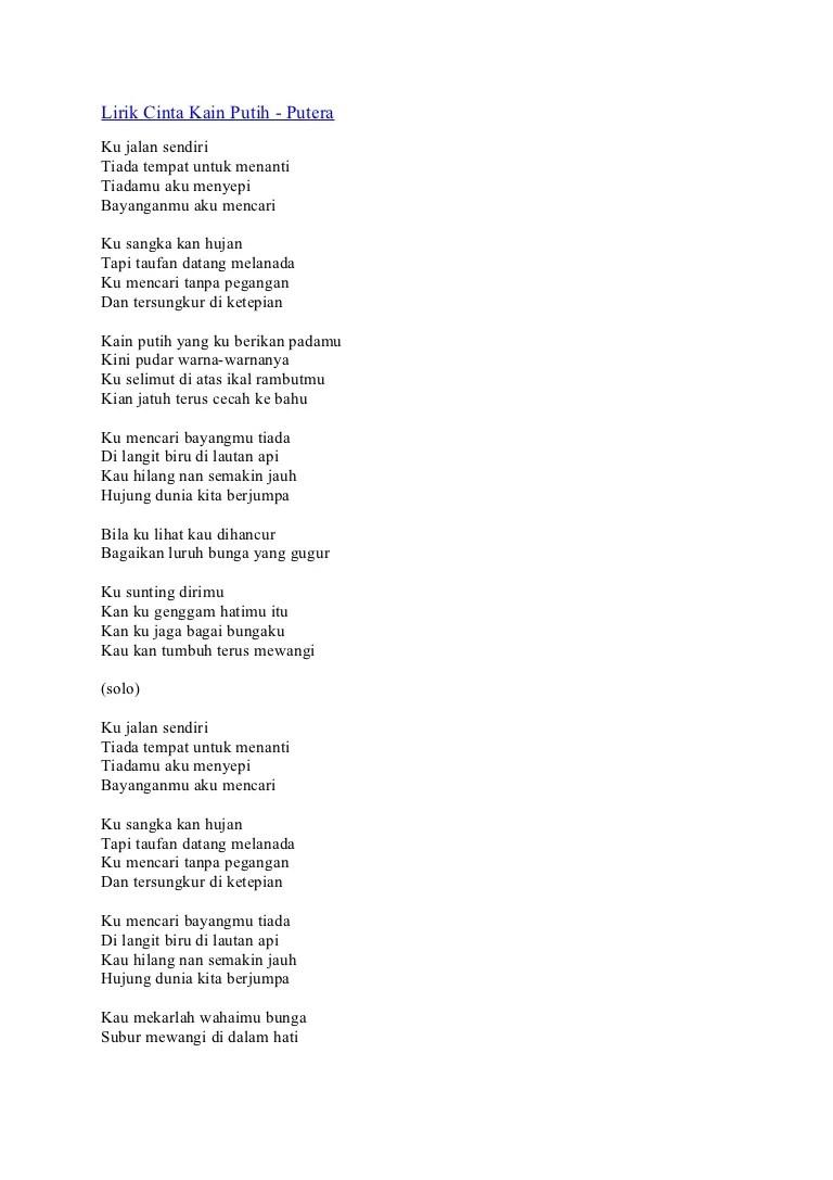 Lirik Lagu Selimut Biru : lirik, selimut, Lirik, Cinta, Putih