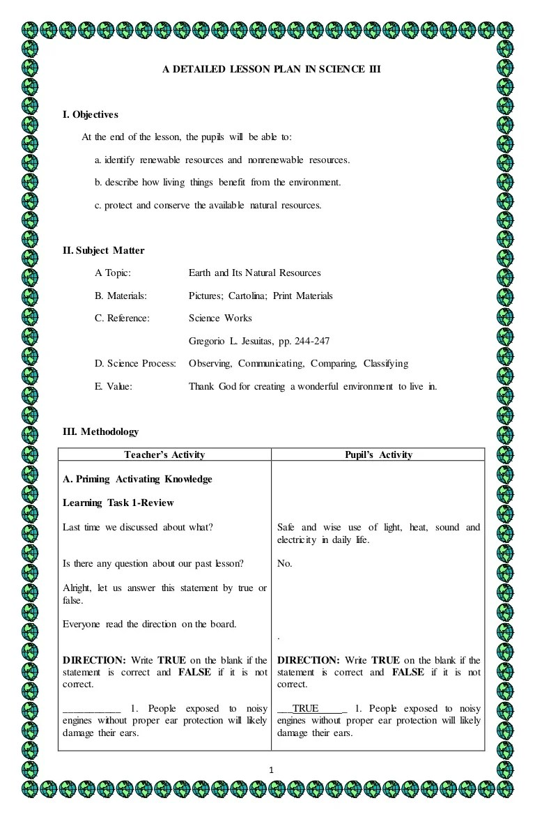 small resolution of 4A's Detailed lesson plan in Science 3