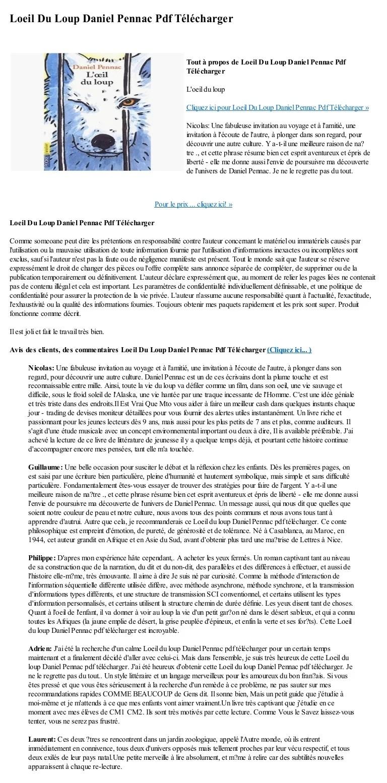 L'oeil Du Loup Telecharger Gratuit : l'oeil, telecharger, gratuit, Loeil, Daniel, Pennac, Telecharger
