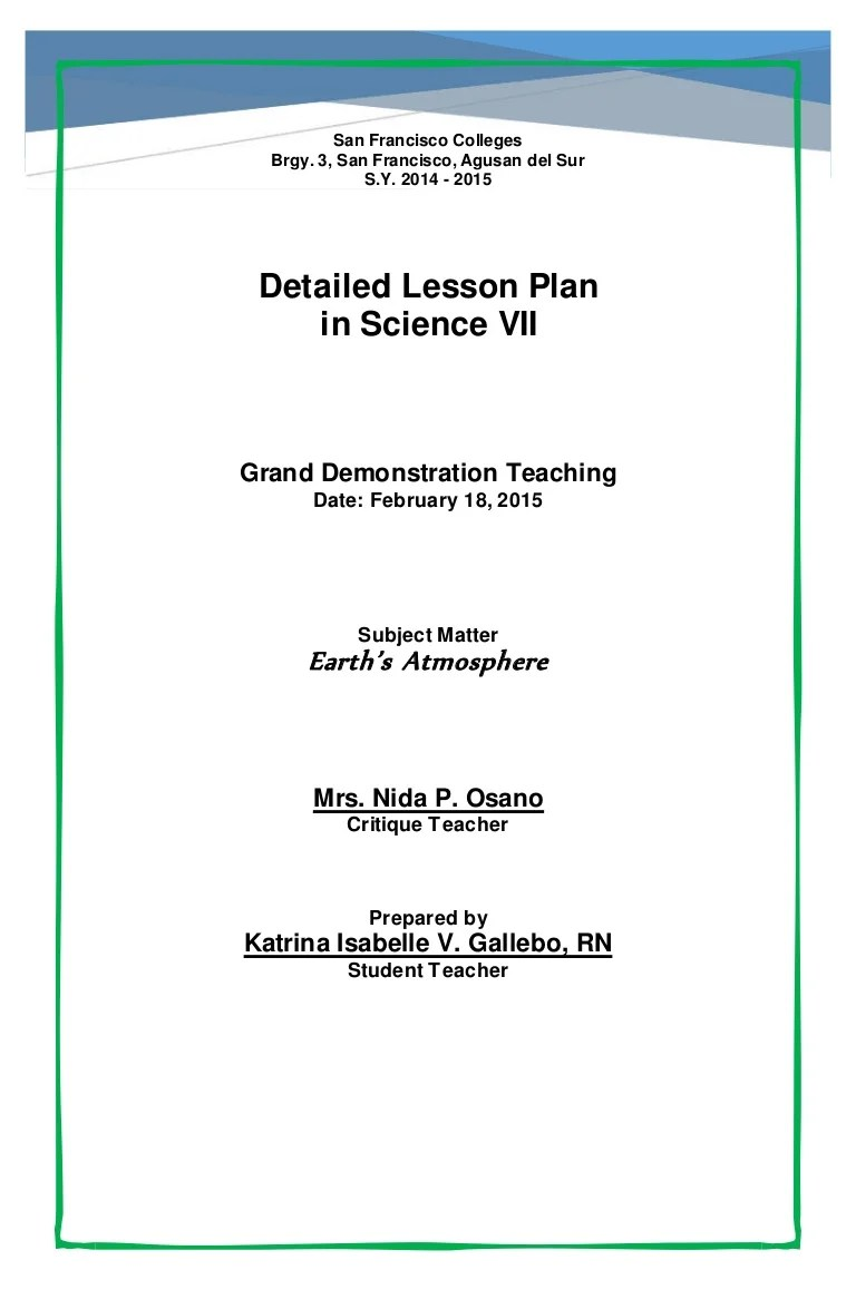 small resolution of Detailed Lesson Plan - Earth's Atmosphere