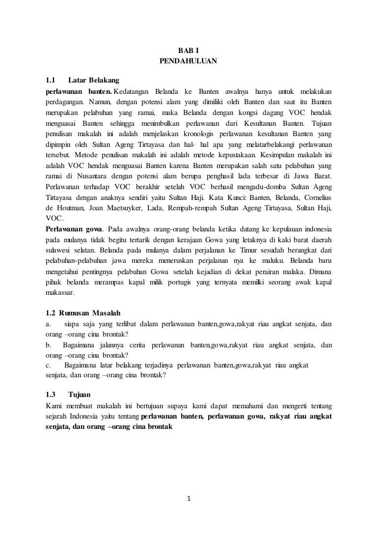 Perlawanan Rakyat Banten Terhadap Voc : perlawanan, rakyat, banten, terhadap, Makalah, Perlawanan, Banten