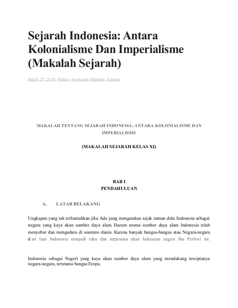 Antara Kolonialisme Dan Imperialisme : antara, kolonialisme, imperialisme, Makalah, Sejarah, Indonesia;, Antara, Kolonialisme, Imperialisme, (sma)