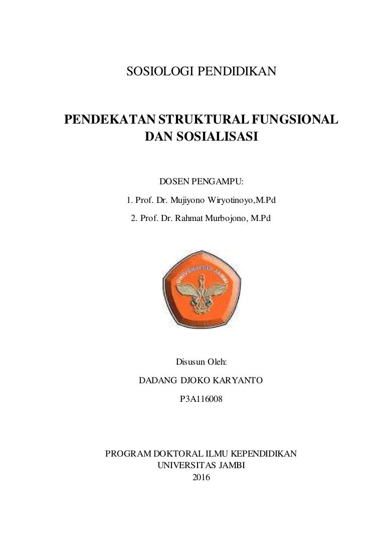 1mahasiswa program magister pendidikan sosiologi, sekolah pascasarjana upi. Teori Fungsionalisme Struktural Talcott Parsons Pdf