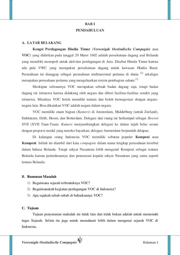 Tujuan Voc Di Indonesia : tujuan, indonesia, Makalah