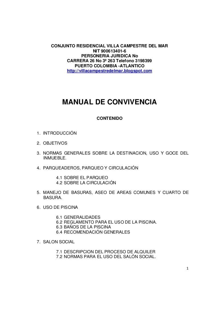 Manual de convivencia villa campestre del Mar actualizado
