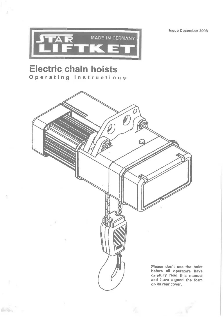 manual for liftket electrical chain hoistyale overhead crane hoist wiring diagram 20 [ 768 x 1087 Pixel ]