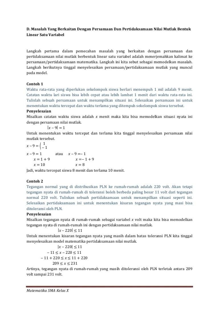 Kumpulan Soal Persamaan Nilai Mutlak Beserta Jawabannya : kumpulan, persamaan, nilai, mutlak, beserta, jawabannya, Masalah, Persamaan, Pertidaksamaan, Nilai, Mutlak