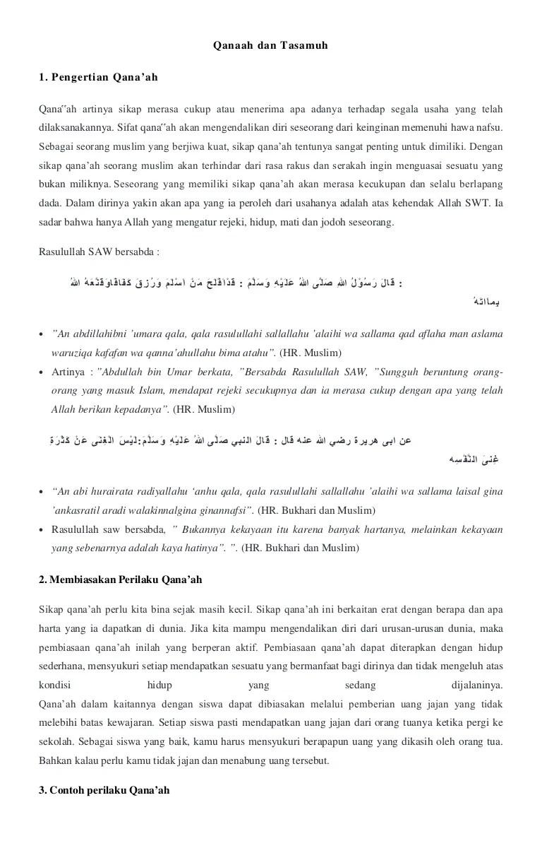 Pengertian Qanaah Dan Tasamuh : pengertian, qanaah, tasamuh, Materi, Qanaah, Tasamuh