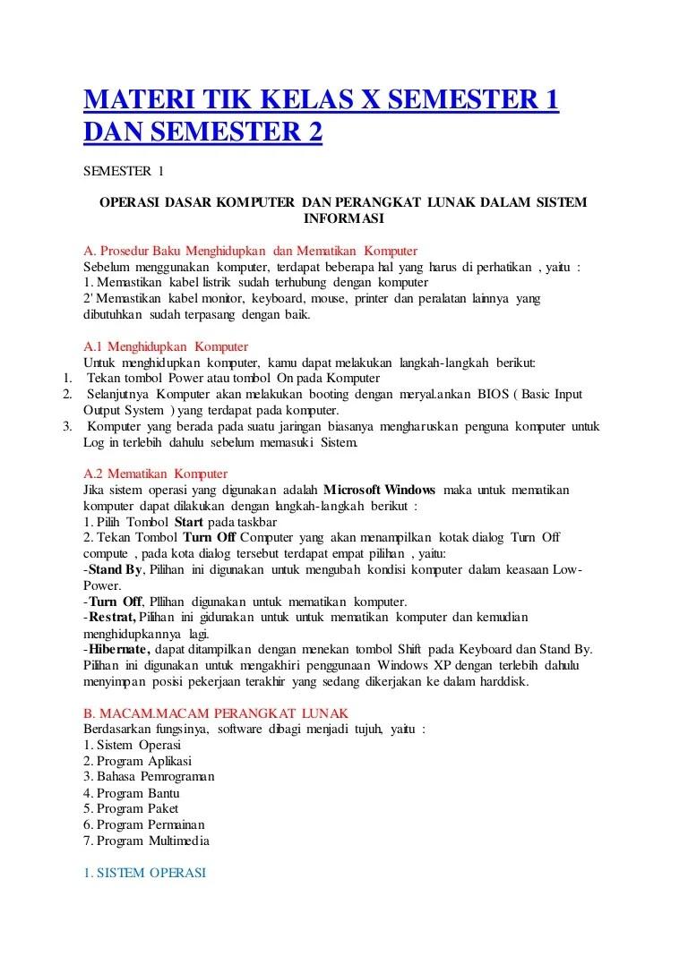 Materi Tik Kelas 10 : materi, kelas, Materi, Kelas, Semester, Bahan, Untuk