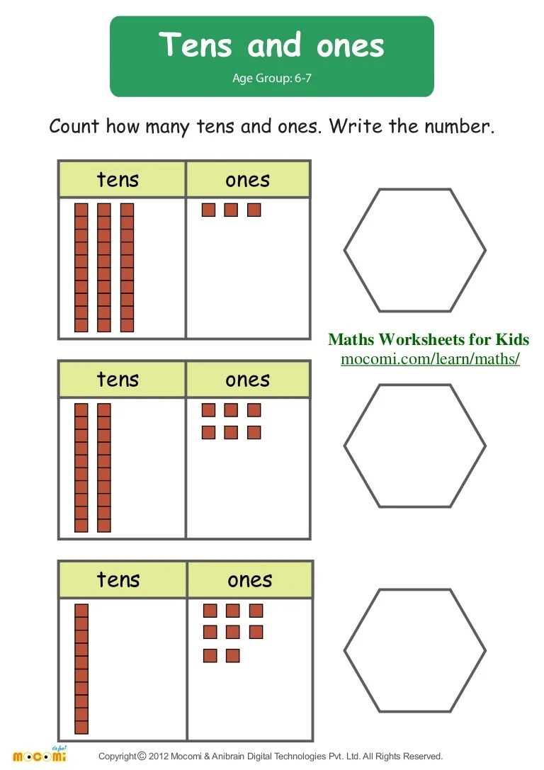 small resolution of Tens And Ones – Maths Worksheets for Kids – Mocomi.com