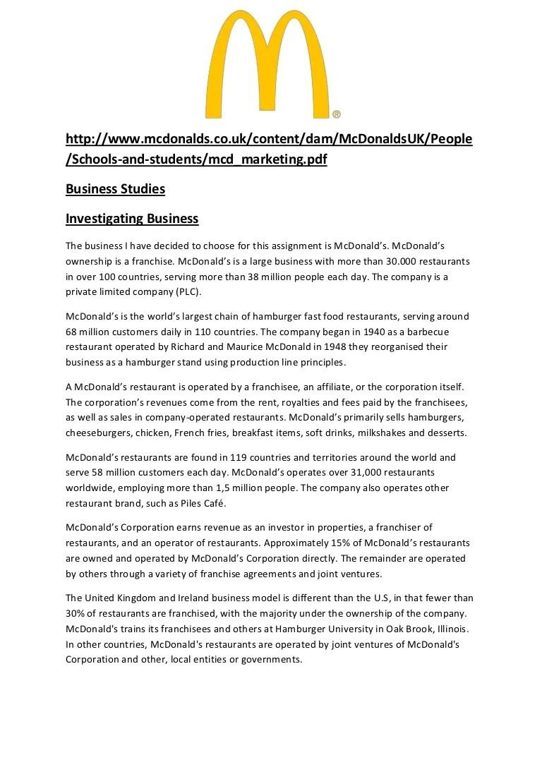 mcdonalds resume example