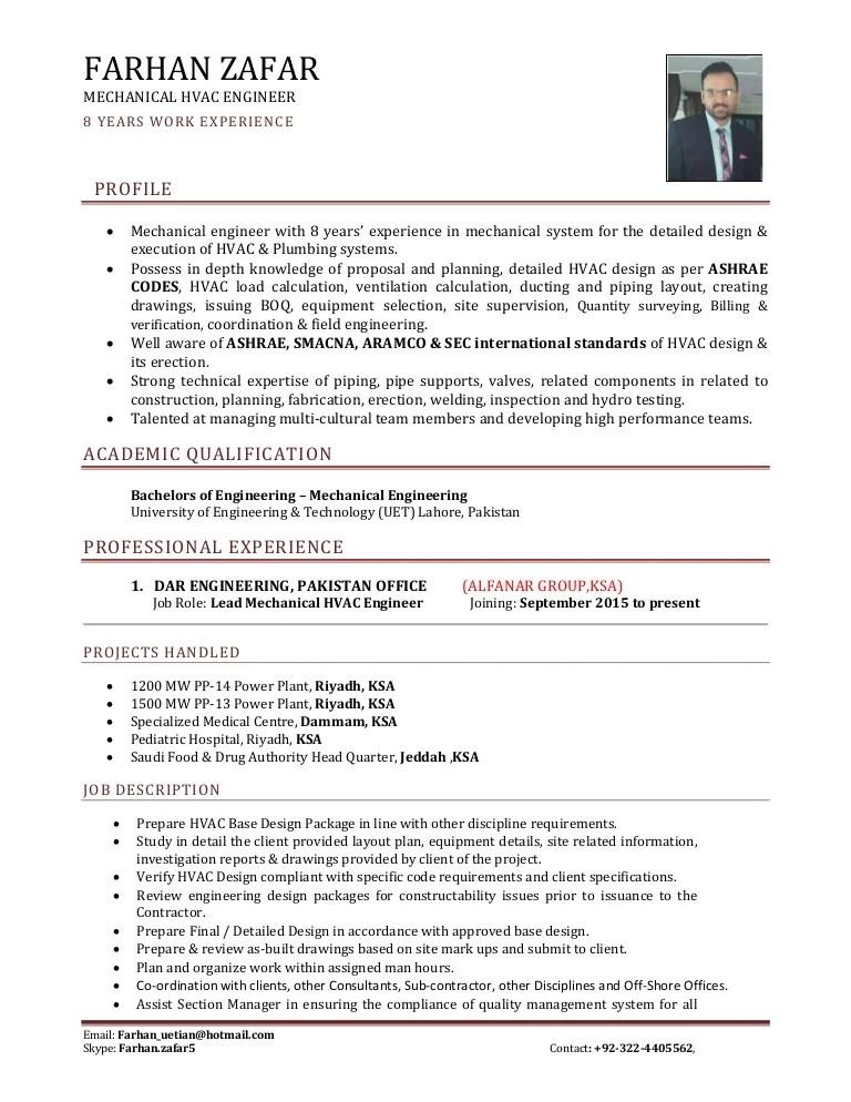 cv resume mechanical engineer