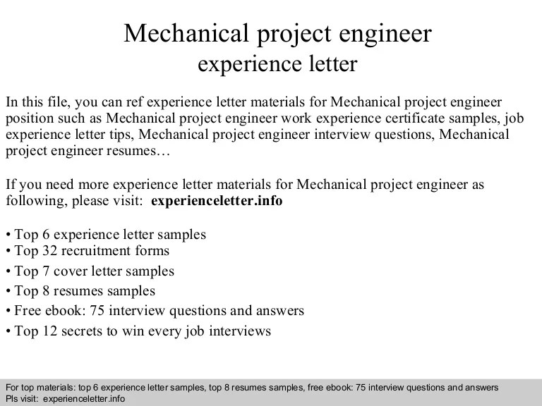 Mechanical project engineer experience letter