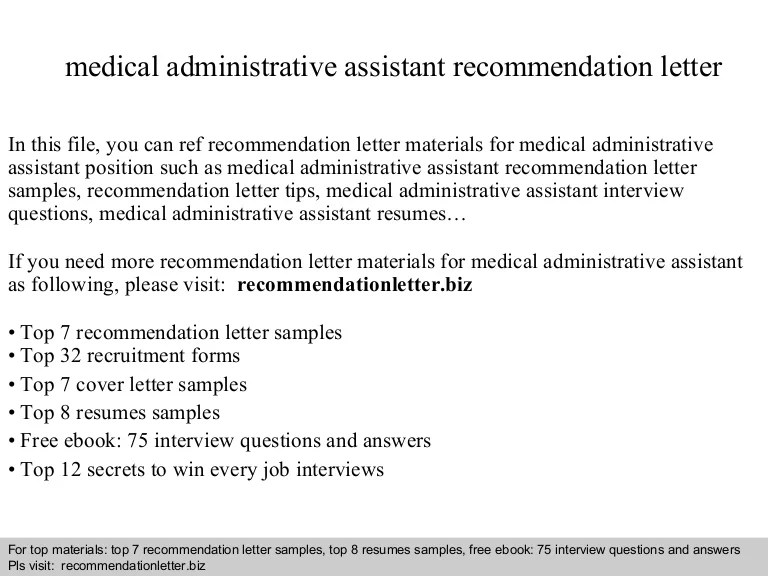 Medical Administrative Assistant Recommendation Letter