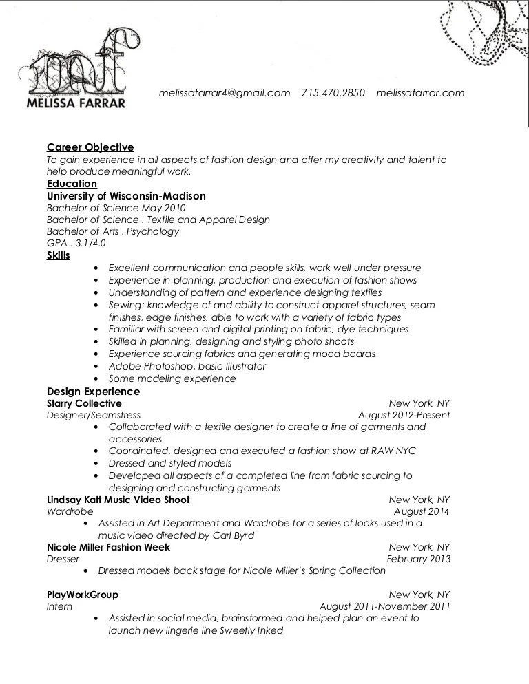 Melissa Farrar Resume
