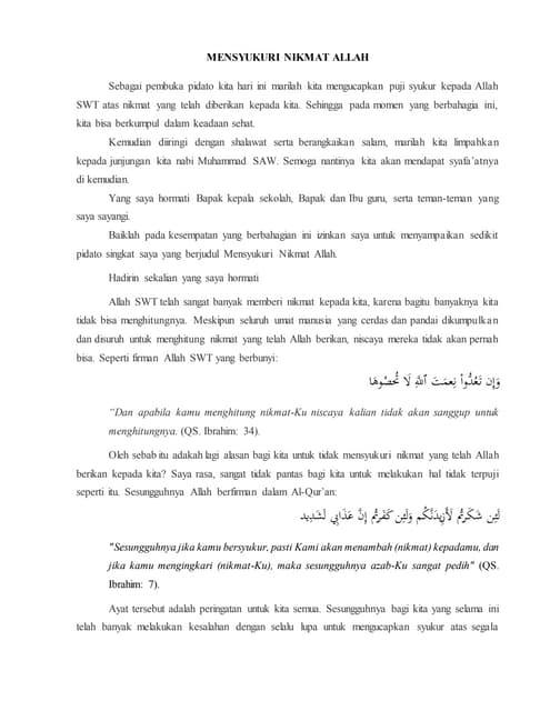 Pidato Mensyukuri Nikmat Allah : pidato, mensyukuri, nikmat, allah, Pidato, Mensyukuri, Nikmat, Allah