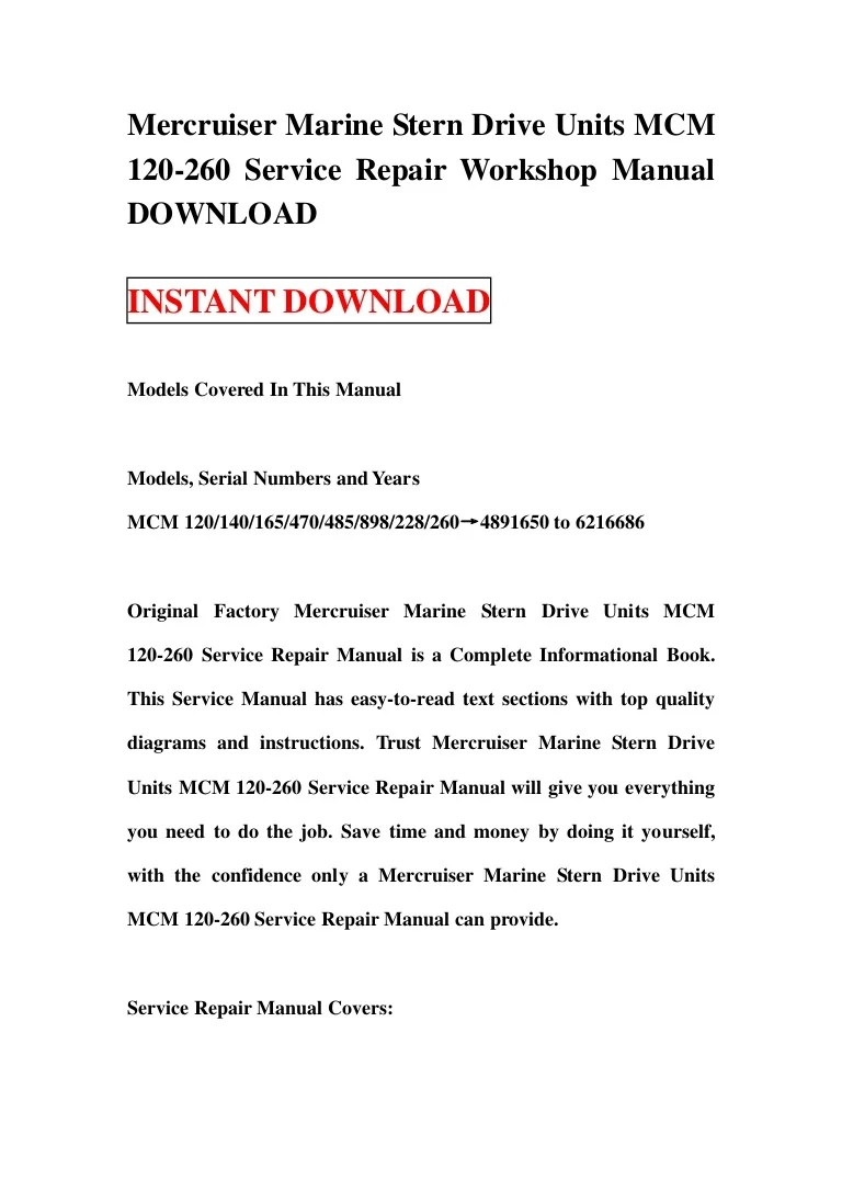 hight resolution of mercruiser marine stern drive units mcm 120 260 service repair workshop manual download
