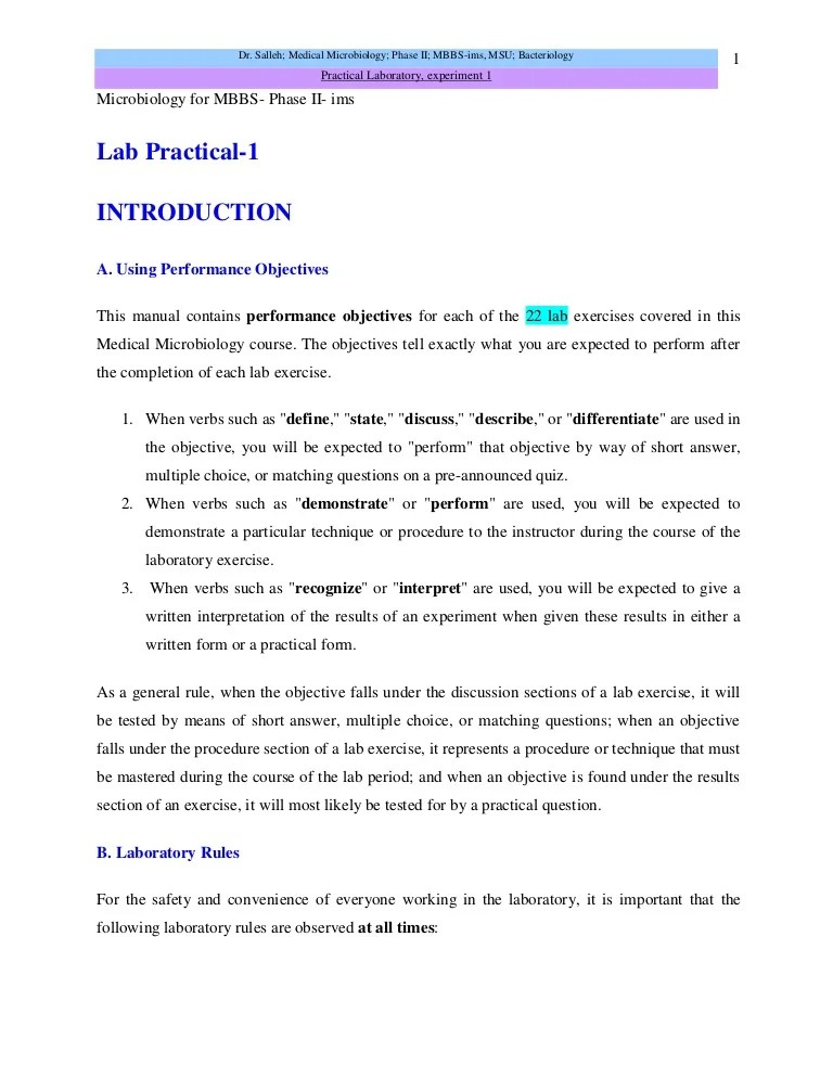 Microbiology Lab Practical