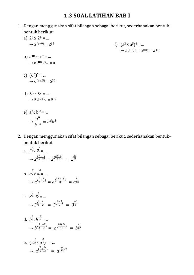Sederhanakanlah Bentuk Pangkat Berikut : sederhanakanlah, bentuk, pangkat, berikut, LATIHAN