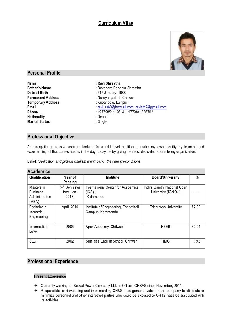 My Latest Cv