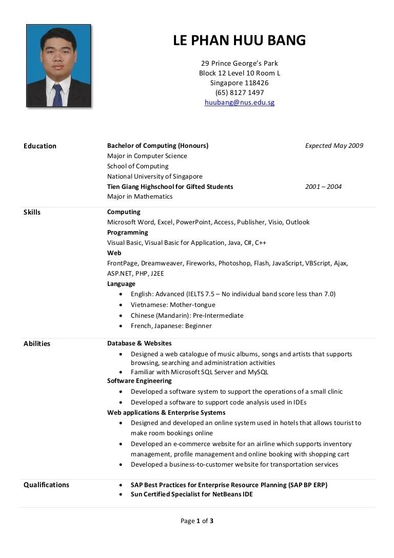Huu Bang's Résumé