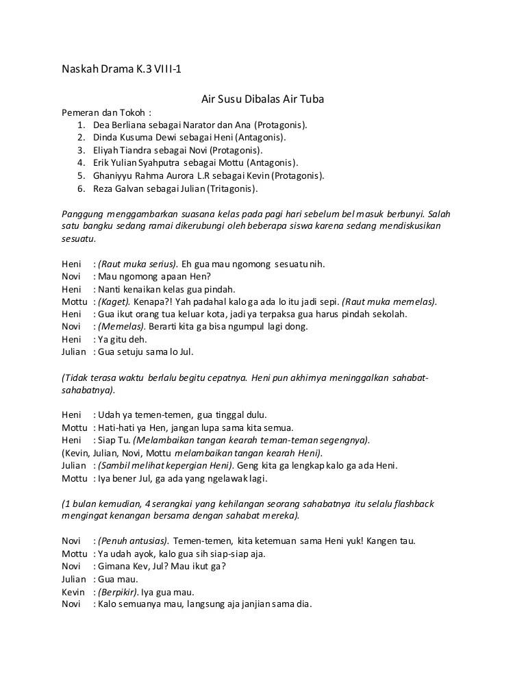 Teks Drama Bahasa Indonesia : drama, bahasa, indonesia, Naskah, Drama, Bahasa, Indonesia, Kelas