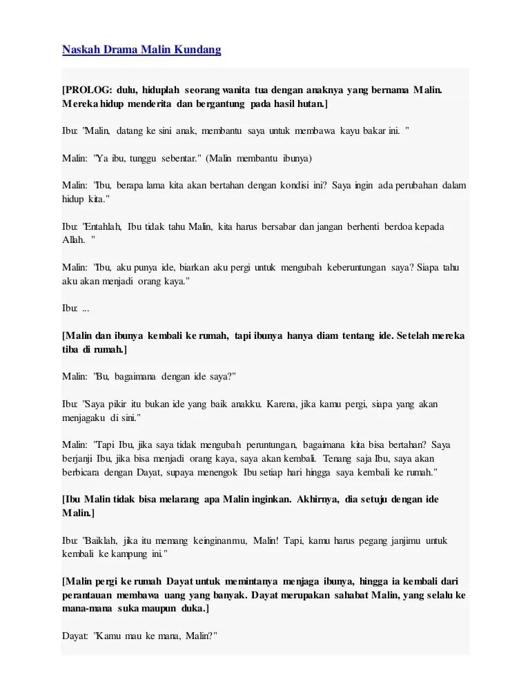 Teks Dialog Malin Kundang : dialog, malin, kundang, Naskah, Drama, Malin, Kundang
