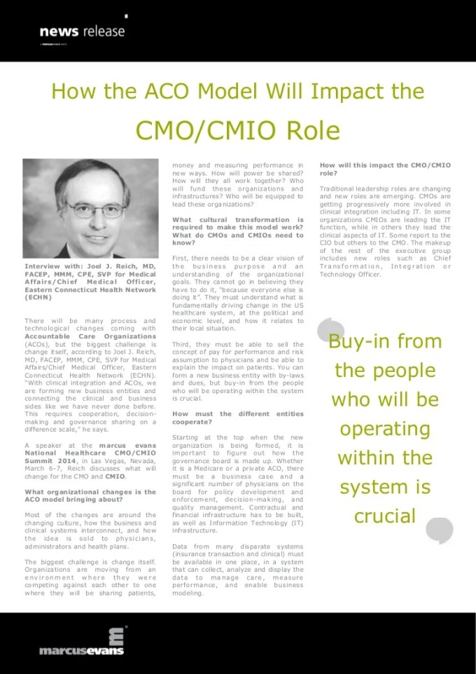 How The Aco Model Will Impact The Cmo Cmio Role Joel J Reich East