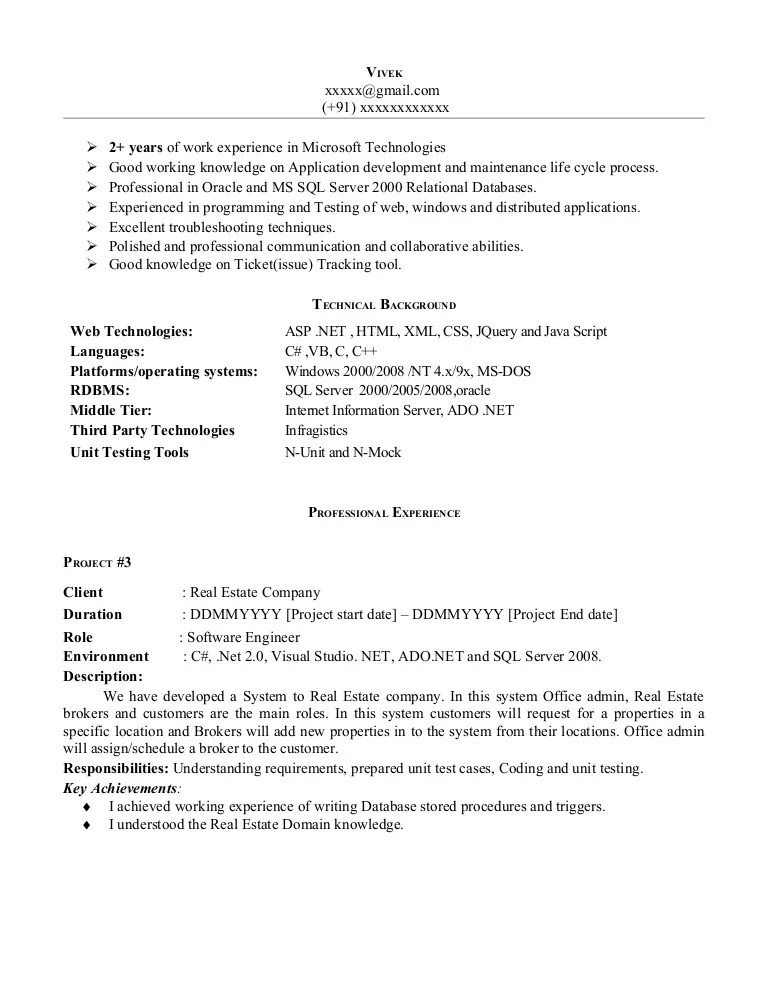 Net Experience Resume Sample