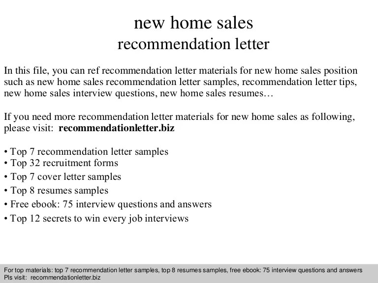 New Home Sales Recommendation Letter