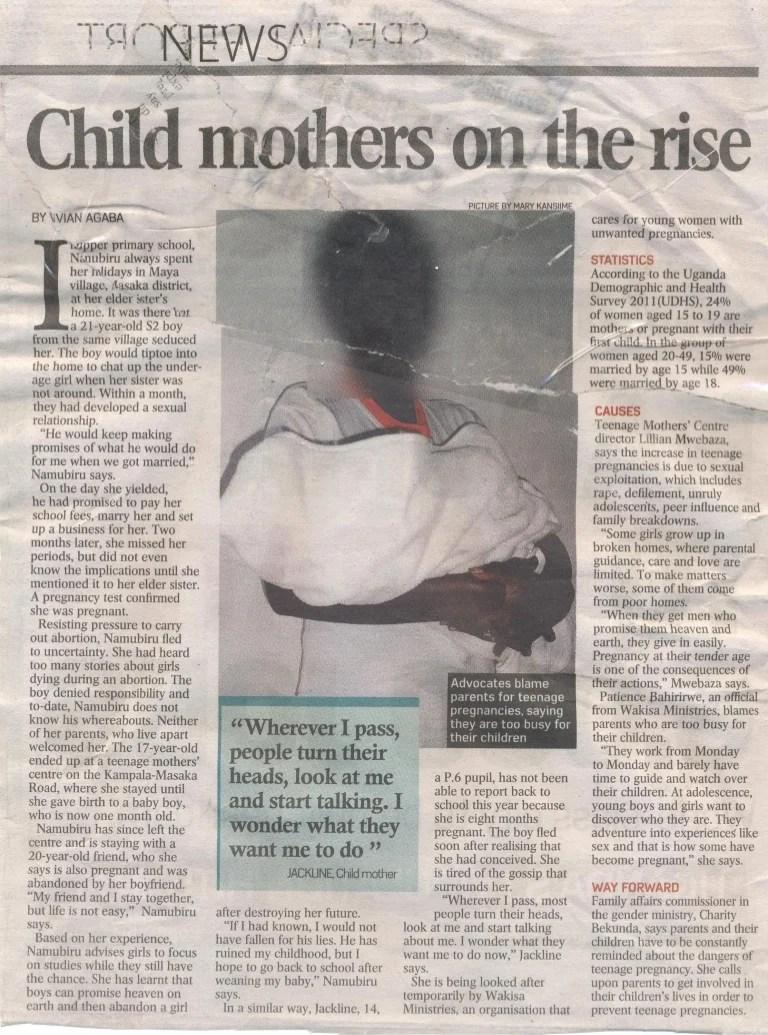 Newspaper article: teenagers with parenting responsibilities.Uganda c…