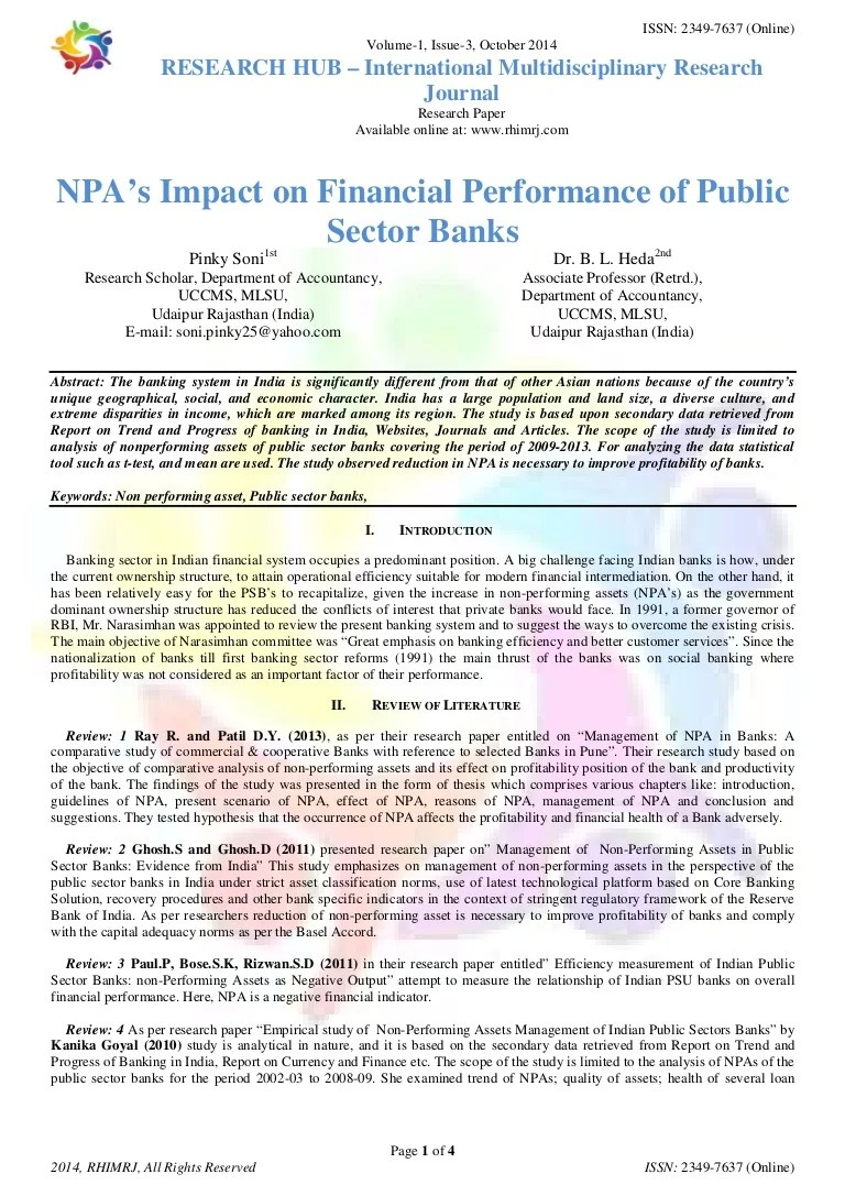 NPA's Impact On Financial Performance Of Public Sector Banks