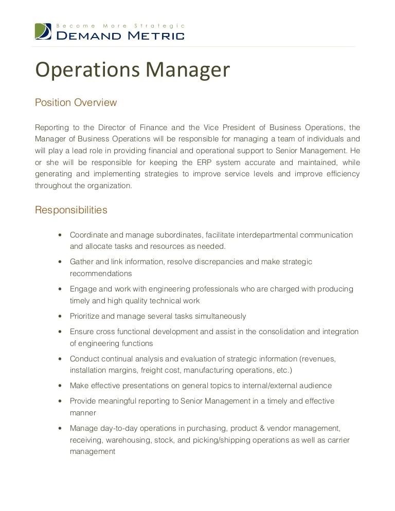 resume job description for general manager