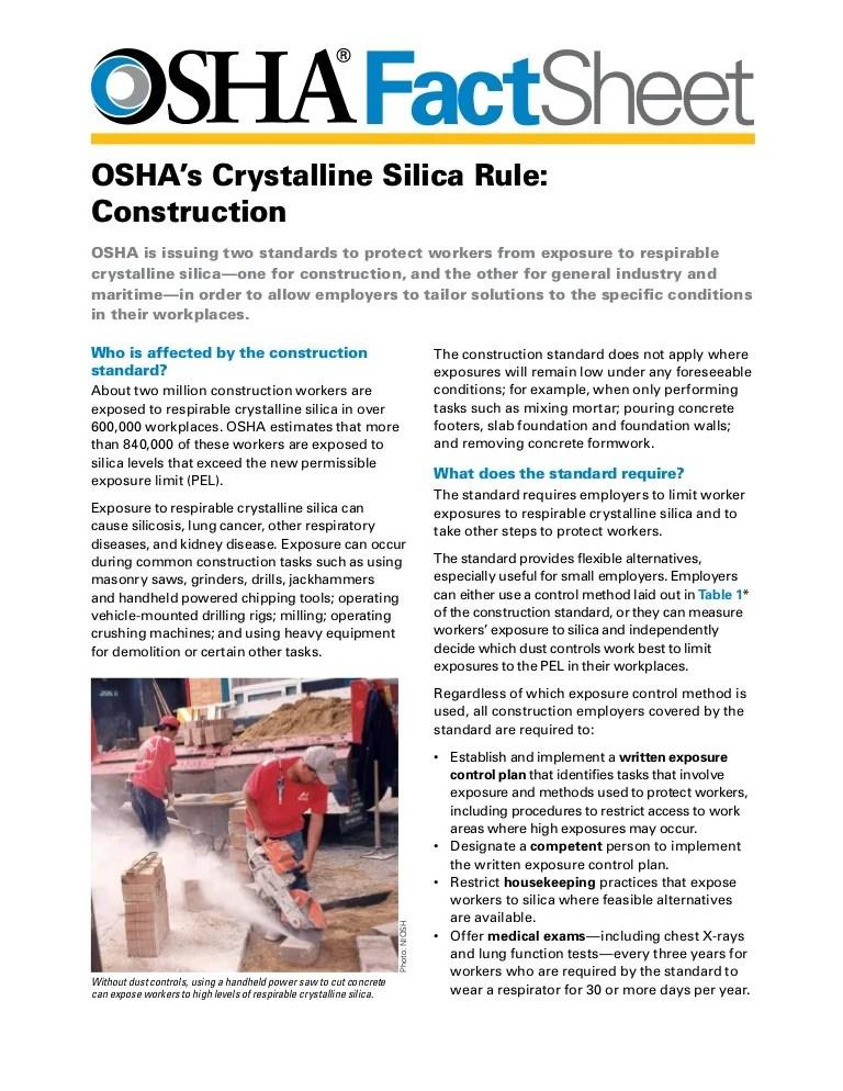 crystalline silica rule construction