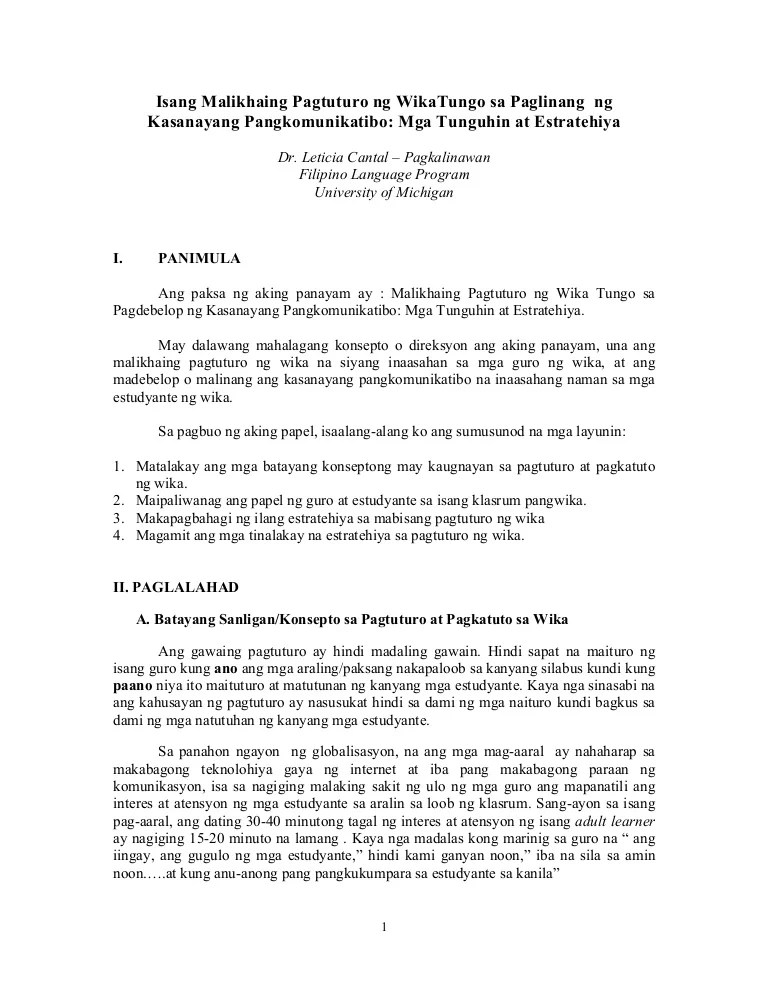Pagkalinawan Malikhaing Pagtuturo Ng Wika 1
